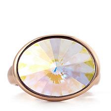 Aurora Swarovski Crystal Oval Cocktail Ring