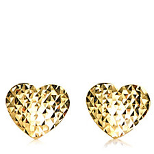 9ct Gold Diamond Cut Heart Stud Earrings