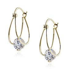 Diamonique 2ct tw Split Hoop Earrings 9ct Gold