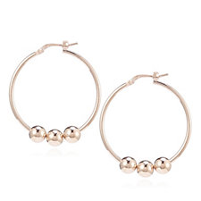 Italian Silver Beaded Hoop Earrings Sterling Silver