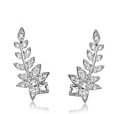 Bill Skinnner Crystal Fern Ear Climber Earrings