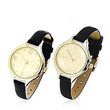 Gossip Heart Set of 2 Faux Leather Strap Watches