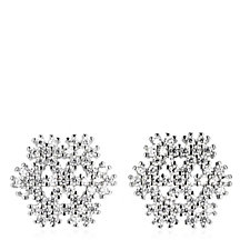 Diamonique 0.9ct tw Snowflake Stud Earrings Sterling Silver