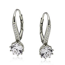 Diamonique 2ct tw 12 Prong Leverback Earrings Sterling Silver