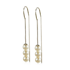 Honora 6-6.5mm White Round Freshwater Pearl Thread Earrings Sterling Silver