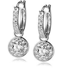 Diamonique 1.6ct tw Hoop Charm Drop Earrings Sterling Silver