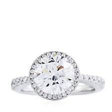 Michelle Mone for Diamonique 3ct tw Solitaire Cocktail Ring Sterling Silver