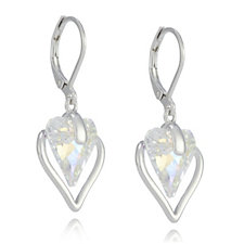 Crystal Glamour with Swarovski Crystals Heart Drop Earrings
