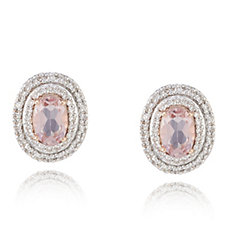 0.7ct Morganite Premier Diamond Accent Stud Earrings 9ct Rose Gold