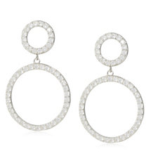 330834 - Diamonique 1ct tw Double Circle Drop Earrings Sterling Silver