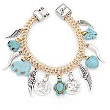 Bibi Bijoux Simulated Turquoise Multi Charm Bracelet