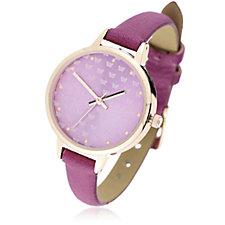 Gossip Butterfly Print Skinny Strap Watch