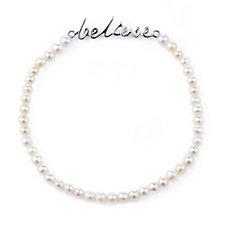 K by Kelly Hoppen Mantra Cultured Pearl Stretch Bracelet Sterling Silver