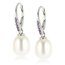 Honora 9-9.5mm Cultured Pearl & Gemstone Leverback Earrings Sterling Silver