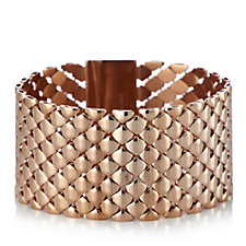 Bronzo Italia Quilted Links Cuff Bracelet