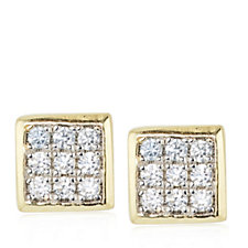 Diamonique 0.1ct tw Pave Square Stud Earrings Sterling Silver