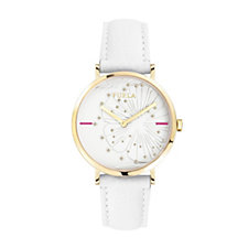 Furla Ladies Giada Scattered Crystal Leather Strap Watch