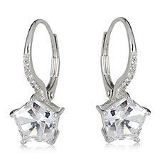 Diamonique 4ct tw Pentagon Cut Leverback Earrings Sterling Silver