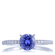 Diamonique 1.7ct tw Simulated Tanzanite Solitaire Ring Sterling Silver