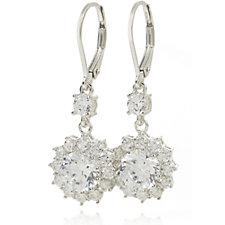 Diamonique 4ct tw Halo Drop Earrings Sterling Silver
