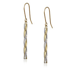 9ct Gold Bi Colour Twist Drop Earrings