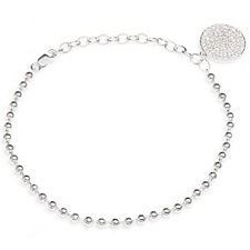 Diamonique 0.7ct tw Ball Bead 17cm Bracelet Sterling Silver