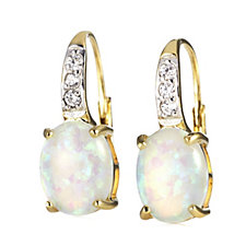 Diamonique 0.12ct tw Simulated Opal Leverback Earrings Sterling Silver