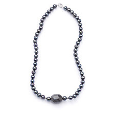 Honora 7-8mm Cultured Pearl Gem Stone Necklace Sterling Silver