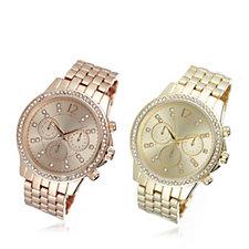 Gossip Set of 2 Crystal Bezel Bracelet Watches