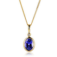 1ct AAA Tanzanite Pendant & Chain w/ Diamond Accent 18ct Gold