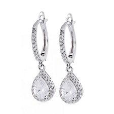Diamonique 1.7ct tw Pear Cut Leverback Earrings Sterling Silver