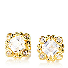Diamonique 1.2ct tw Gold Plated Stud Earrings Sterling Silver
