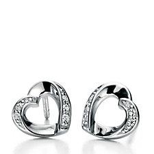 Fiorelli Ribbon Heart Stud Earrings Sterling Silver