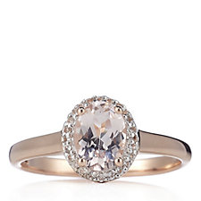 1ct Morganite Oval Halo Solitaire Ring Rose Gold Vermeil Sterling Silver