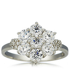 Diamonique 1.82ct tw Flower Cluster Ring Sterling Silver