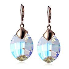 Aurora Swarovski Crystal Leaf Drop Earrings