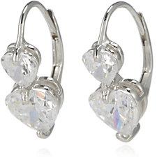 Diamonique 2.5ct tw Double Heart Cut Leverback Earrings Sterling Silver