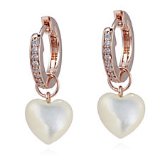 Diamonique 0.2ct tw Heart Interchangeable Huggie Earrings Sterling Silver