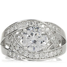 Diamonique 2.4ct tw Open Work Band Ring Sterling Silver