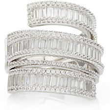 Diamonique Couture 4.83ct tw Baguette Wrap Band Ring Sterling Silver