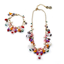 Butler & Wilson Tulip & Beads Single Strand 22cm Bracelet & Necklace Set