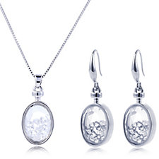 Frank Usher Crystal Shaker Pendant, Chain & Earrings Gift Set