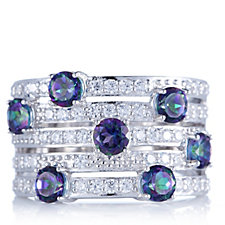 Diamonique 2.3ct tw Simulated Mystic Topaz Band Ring Sterling Silver