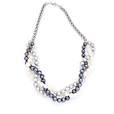 Honora 7-8mm Cultured Ringed Pearl Necklace Stainless Steel