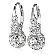 Diamonique 2.5ct tw Twin Star Cut Leverback Earrings Sterling Silver