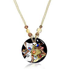 Murano Glass 24ct Gold Leaf Glass Disc 51cm Necklace
