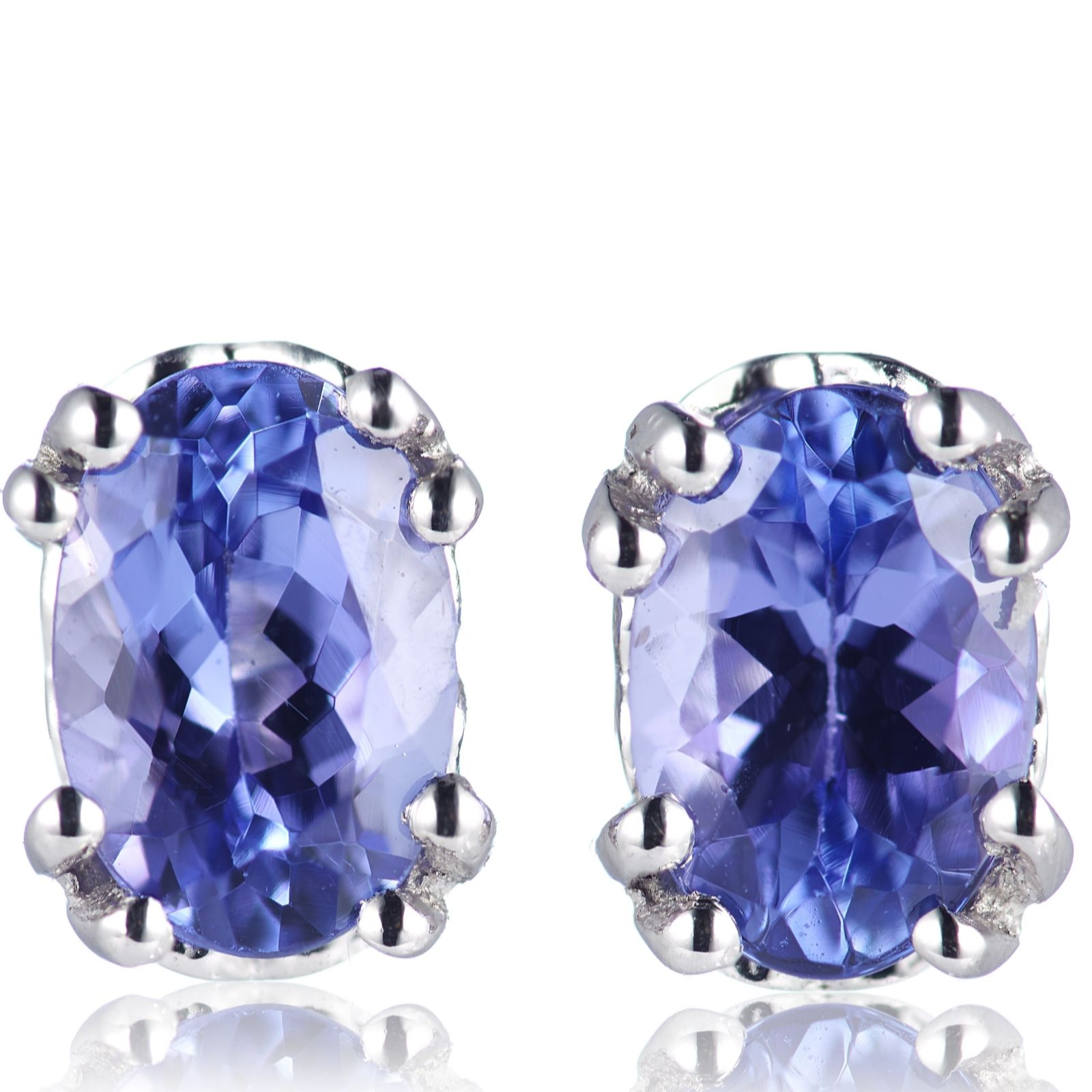 0 9ct Aaa Tanzanite Oval Stud Earrings 18ct Gold Qvc Uk