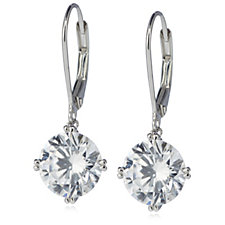 Diamonique 6ct tw Solitaire Leverback Earrings Sterling Silver