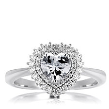 Diamonique 1.5ct tw Heart Halo Ring Sterling Silver