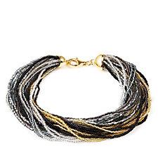 Murano Glass Multi Strand 21cm Bracelet Sterling Silver